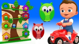 Little Baby Fun Learning Colors for Children with Owl Toys Wooden Slider ToySet 3D Kids Educational