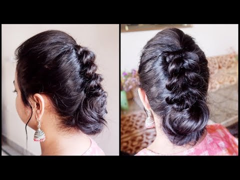 Xxx Mp4 Festive Wedding Guest Hairstyle For Very Thin Hair Indian Party Bun Hairstyle For Medium Hair 3gp Sex
