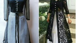 Designer long dress with open front jacket  front slit kurti cutting and stitching