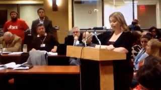 Teacher Lisa Fantacone from PS # 34 speaking @ Caucus meeting. 2-17-15