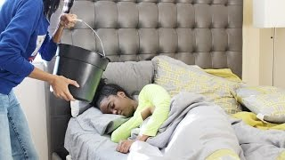 SLEEPING WATER PRANK ON SISTER (*WARNING* SHE WAS MAD!!!!)