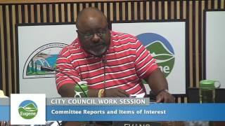 Eugene City Council Wednesday Work Session September 28, 2016