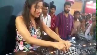 Girl playing dj
