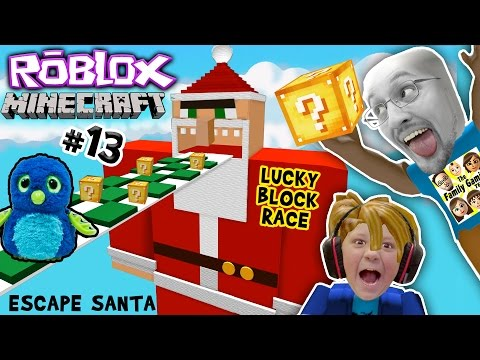 ESCAPE SANTA OBBY Roblox 13 Minecraft Lucky Block Race Challenge Game FGTEEV meets Hatchimals😱