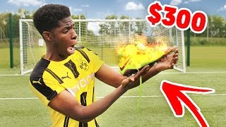 PLAYING in BURNT on FIRE $300 FOOTBALL BOOTS!! - has this GONE WRONG?? 😱🔥