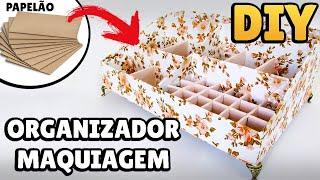 DIY: COMO FAZER ORGANIZADOR MAQUIAGEM DE PAPELÃO | #diypapelao