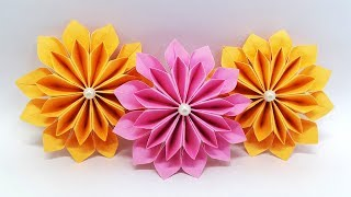 DIY Paper Flowers easy making tutorial (Origami Flower) - Paper Crafts Ideas