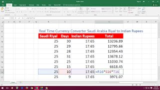 MS Excel Real Time Currency Converter Saudi Riyal to Indian Rupees