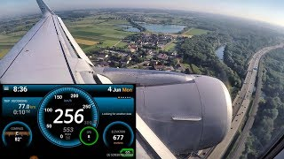 Landing in Munich. Speed and Altitude Recording. Airbus A320. Flight LH2547 from Kiev