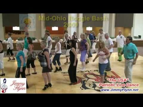 watch The USA patriotic line dance by Jimmy Flynn to Stars and Stripes Forever