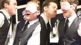 McFly kiss each other while blindfolded - in a game loosely related to new single Love is Easy