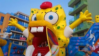 Download Outdoor playground for kids with BOB SPONGE, slides and more funny inflatable toys 3Gp Mp4