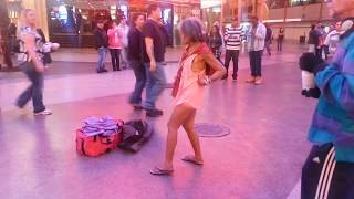 Drunk woman dancing like crazy in Fremont street