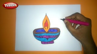 Easy And Colourful Diwali Diya Drawing For Kids | How to Draw DIWALI GREETING DRAWING