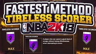 NBA 2K18 Unlock Tireless Scorer in ONE Game! FASTEST Method