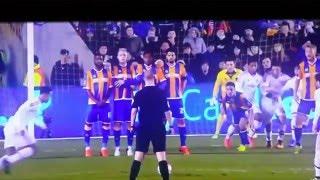 Funny football free kick, shot block, martial defending