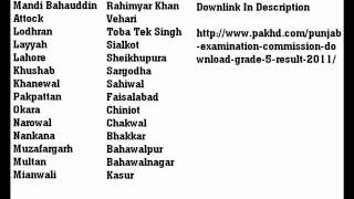 Punjab Examination Commission Download Class 5 Result 2011