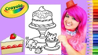 Coloring Kitty & Puppy Birthday Cake Crayola Coloring Page Prismacolor Pencils | KiMMi THE CLOWN
