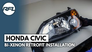 Honda Civic EM2 Coupe Bi-xenon projector retrofit (blackout) installation