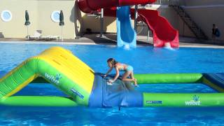 Grace tackles the Total Wipeout course in Kos