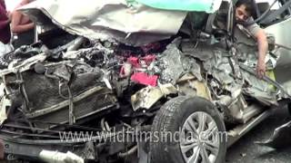 Graphic Warning - Deadly car crash aftermath in Andhra Pradesh