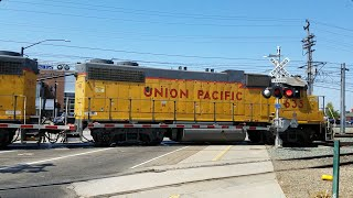 Mather Field Road Railroad Crossing, UP 635 LRS93 Local Shoving Back To rest Of Train, Rancho Cor...