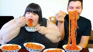 Extreme Spicy Noodle Challenge With Hungry Fat Chick
