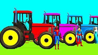 Fun Learn Colors TRACTOR and Animals - Superheroes Cartoon Spiderman for Kids Children