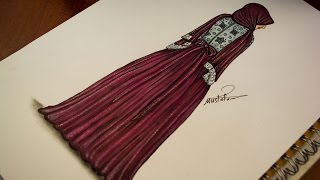 تعليم رسم وتصميم ازياء | رسم فستان سهرة للمحجبات - how to draw fashion