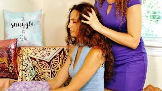 The Snuggle is Real! ASMR Health Benefits! Scalp & Head Massage w/ Ear to Ear Whispering