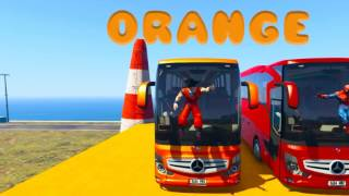 COLOR HUGE BUS HIGH SPEED CRASH w  Superheroes Cartoon for children and baby Nur