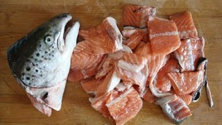 How to cut a frozen fish into pieces (Make it ready for the Grill)