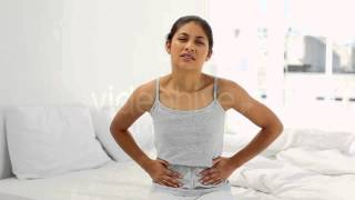 Stock Footage - Attractive Woman Suffering From Belly Pain | VideoHive