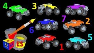 Los colores en español para niños. Aprenda a contar los camiones monstruo. Colors in Spanish
