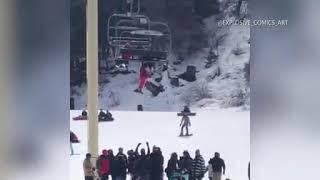 Caught on Camera  Girl Dangles from Ski Lift