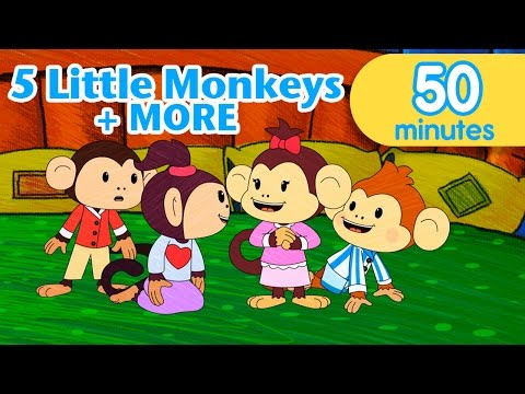Five Little Monkeys Jumping on the Bed ELF Learning Nursery Rhymes