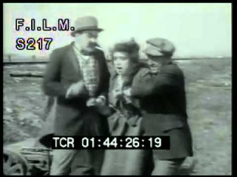 Vintage Women Tied to Railroad Tracks (stock footage / archival footage)