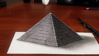 How to Draw a 3D Pyramid - Easy 3D Art with Markers and Pencils