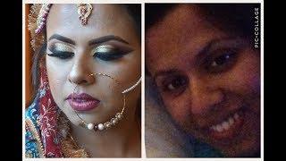 Asian Bridal makeup/ Gold Glitter Cut Crease Smoky Eyes | MahamAli