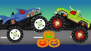 Halloween Monster Truck | Vehicles For Children _ Dinosaur Monster Bajki Dla Dzieci - Monster Truck