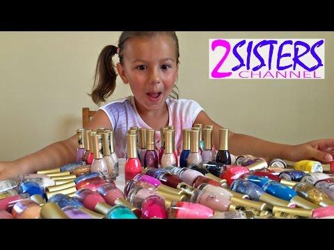 360 лаков для ногтей! Катя красит ногти. Делаем летний детский маникюр.