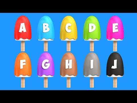 Learn Alphabet with Ice Cream Popsicles Song - Colours, Shapes and Numbers Videos Collection