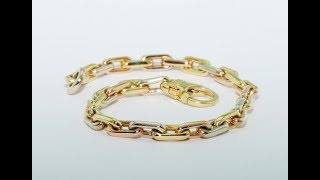 18kt gold bracelet three colors yellow white and red handmade