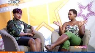 ScoopOnScoopXtra: Irene Ntale on set with Tina Fierce[2/2]