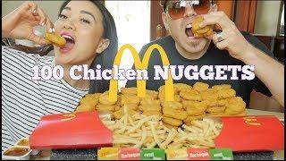 McDonald's 100 Chicken NUGGETS *Challenge / Mukbang | SASVlogs