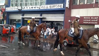 Sri Lanka Police Colombo Galle Face to Maradana Road go On the Horse Beutiful and awesome at Fettah