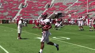 Alabama Quarterbacks and Wide Receivers during day 14 of Fall camp