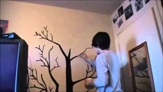 Painting tree on bedroom wall