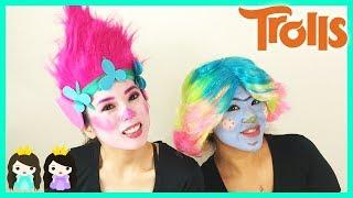 Halloween Costume Makeup Tutorial DIY Trolls Poppy  Makeover Dress Up for Kids Princess ToysReview
