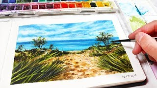 EASY BEACH WATERCOLOR PAINTING FOR BEGINNERS - Watercolor Painting Ideas